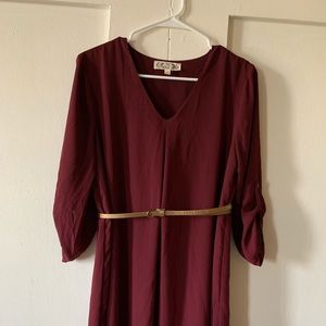 Women's burgundy dress